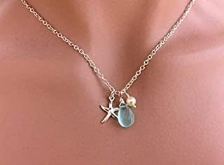 Brushed Sterling Silver and Glacier Blue Chalcedony Cabochon Blue Chalcedony Leaf Necklace