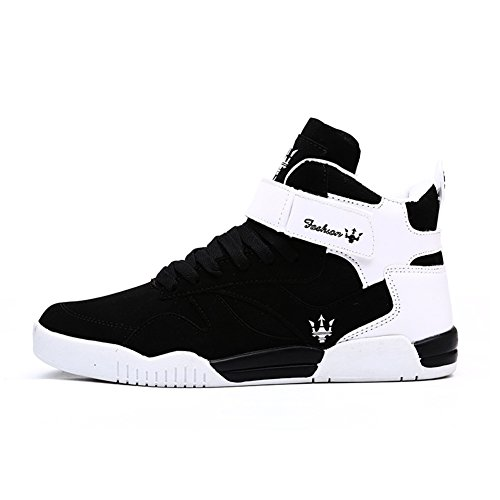 Leader Show (Tm) Men's Autumn & Winter Casual Fashion Sneakers High Top Breathable Athletic Ankle Sports Shoes #1106 (10.5, Black)