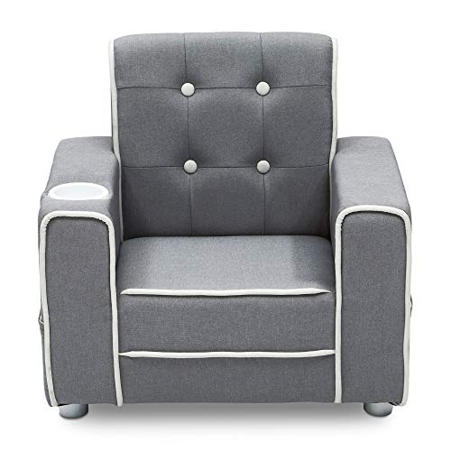 Delta Children Chelsea Kids Upholstered Chair with Cup Holder, Soft Grey