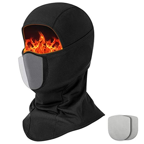 Balaclava Ski Mask for Men, Windproof Full Face Mask for Cold Weather Winter Skiing Snowboarding Motorcycling, with 2 Filters Black