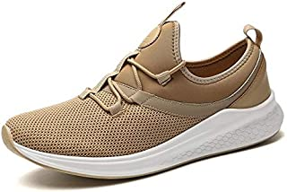 Shangruiqi Fashion Sneaker for Men Athletic Sports Shoes Lace up Breathable Mesh Fabric Lightweight Fitness Training Running Anti-Wear (Color : Khaki, Size : 6 UK)