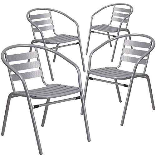 Flash Furniture 4 Pack Silver Metal Restaurant Stack Chair with Aluminum Slats