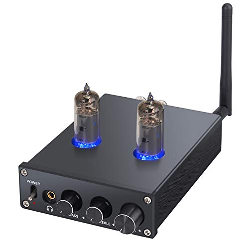 Neoteck Bluetooth 4.2 Stereo Audio Amplifier Receiver with 6J4 Vacuum Tubes Certified aptX Low Latency, 2 Channel Mini Hi-Fi Class D Integrated Amp for Home Passive Speakers 50W + 50W