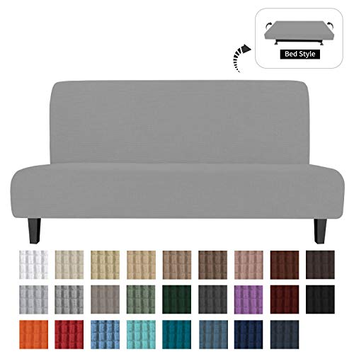 Mejor Lamberia Printed Futon Cover Armless Stretch Sofa Slipcover Furniture Protector Elastic Spandex Full Folding Couch Sofa Shield fits Folding Sofa Bed (Hot Bloom) crítica 2020