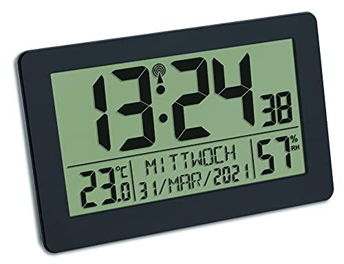 TFA Dostmann Reloj de Pared Digital controlado por Radio, Pantalla Grande, indicador de Temperatura, Fecha, día de la Semana, plástico, 215 x 40 x 170 mm