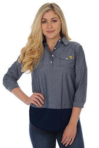 UG Apparel NCAA West Virginia Mountaineers Adult Women Chambray Shirt, Large, Chambray/Navy