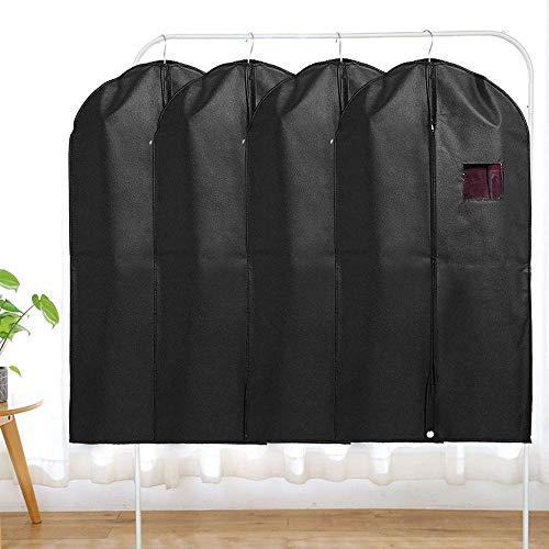 NLLeZ Bolsa de Ropa Negra Cubiertas Colgando Traje Bolsa Cubiertas Cremallera Completa con vestidor de Ventana Transparente Ropa de Vestir Bolsas de Viaje (Color : 5pcs 100x60 cm)