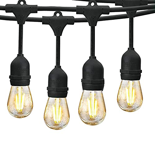 Amabana Outdoor Led String Lights 48Ft, Waterproof Connectable Patio String Lights, 15 Hanging...