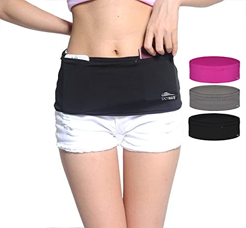 Eazymate Fashion Running Belt - Travel Money Belt with 2 Zipper Pockets Fit All Smartphones and Passport - Black-XL