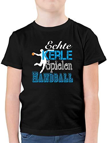 Sport Kind - Echte Kerle Spielen Handball weiß - 152 (12/13 Jahre) - Schwarz - Kinder Tshirt 7 - F130K - Kinder Tshirts und T-Shirt für Jungen