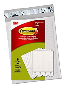 Includes 14 pairs of large, white command picture hanging strips (28 strips total); 4 pairs hold 16 pounds maximum frame size of 24 inches x 36 inches Damage free decorating: Say goodbye to holes, marks, or sticky residue on your walls; Command pictu...