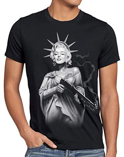 style3 Marilyn Liberty Tattoo T-Shirt Herren Freiheitsstatue USA New York, Größe:S, Farbe:Schwarz