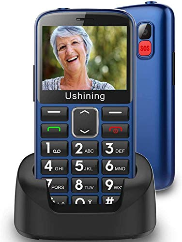 Ushining Unlocked Senior Cell Phones 3G AT&T Big Button Feature Phone Hearing Aids Compatible Easy-to-Use Basic Phone for Elderly with Charging Dock(Blue)