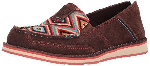 Ariat Women's Cruiser Slip-on Shoe, Coffee Bean Suede/Pastel Aztec Print, 11 B US
