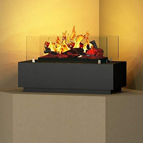 bergamo mobiletti - Opti-Myst Tischkamin Elektro-Kamin – offene Feuerstelle mit 3D Nebel-Flammen – 60 cm - Schwarzgrau
