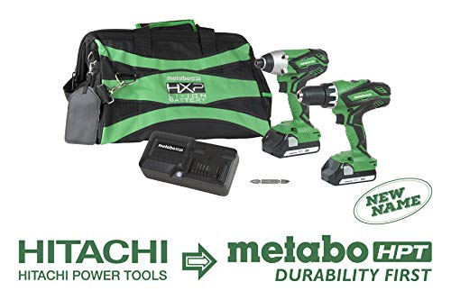 Metabo HPT KC18DGLS 18V Cordless Hammer Drill and Impact Driver Combo Kit, 2-1.5Ah Lithium Ion Batteries, Variable Speed Trigger, LED Light, Lifetime Tool Warranty