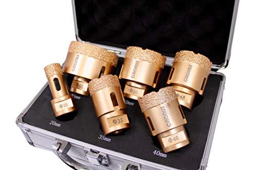 Brocas de diamante Premium Crous M14 10 mm - 65 mm - Juego de 6 brocas para azulejos en seco con maletín