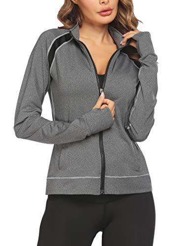 Parabler Laufjacke Damen Sportjacke Trainingsjacke voll Reißverschluss Trainingsanzug mit Daumenloch und Seitentasche Fitness Grau M