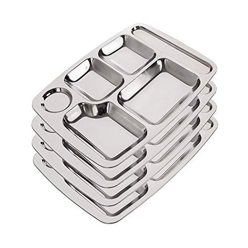 Rectángulo Seis en uno Plato: Bandeja de cena dividida de acero inoxidable, Bandejas de comedor divididas de 5 secciones para el almuerzo, Bandejas de comedor ideales para acampar, Juego de 4 piezas