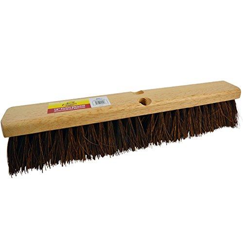 "Bristles 4218 18"" Outdoor Push Broom Head – Heavy Duty Hardwood Block, Rough Surface Stiff Palmyra Fibers, Brown"