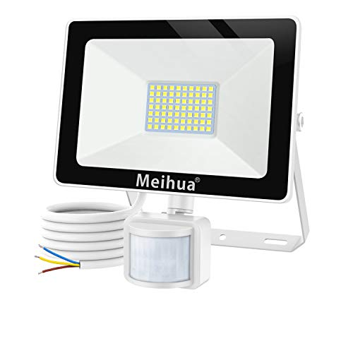MEIHUA 60W Projecteur LED détecteur de mouvement 6000LM, Spot extérieur SMD 72LEDs puissant IP66 étanche, éclairage mural 6500k pour façade, garage et escaliers, remplace un halogène 300 watts