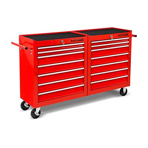 EBERTH Werkstattwagen rot (14 kugel-gelagerte Schubfächer, Antirutschmatten, abschließbar, 2 Lenkrollen, 2 Rollen mit Feststellbremse, pulverbeschichtet)