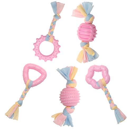 Puppy Rope Chew Toys, Dog Durable Teething Toy with Pink and Blue Rope for Small Dogs and Pet, Star & Ball & Stick