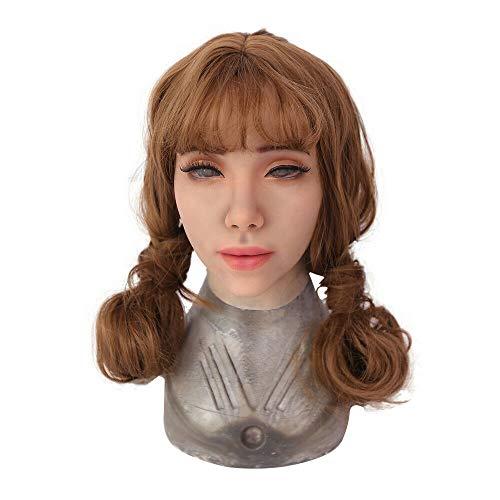 Yuewen Kathy Weibliche Gesichtsmaske Realistische handgemachte Silikon-Kopfmaske für Crossdresser Transgender Cosplay Halloween Masquerade (Elfenbein weiß)