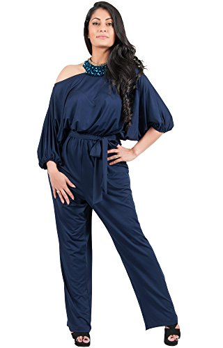 Adelyn and Vivian Plus Size Women's Long Sexy One Shoulder 3/4 Sleeve Summer Elegant Evening Cocktail Formal Casual Pant Suit Pantsuit Romper Rompers Jumpsuit Jumpsuits, Navy Blue 4X 26-28