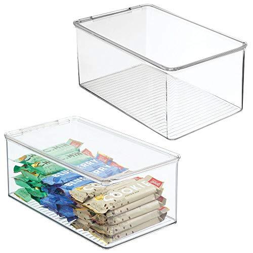 mDesign Juego de 2 organizadores de nevera – Cajas apilables de almacenamiento para despensa y estantes de cocina – Organizador de cocina de plástico sin BPA y con tapa abatible – transparente
