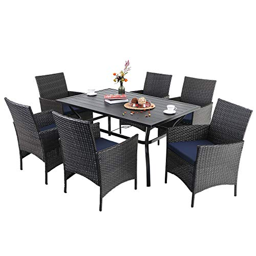 """PHI VILLA 7 Piece Outdoor Dining Sets, 60'x38' Rectangular Dining Table with 1.57"""" Umbrella Hole and 6 Rattan Garden Chairs for Patio, Porch - Black"""