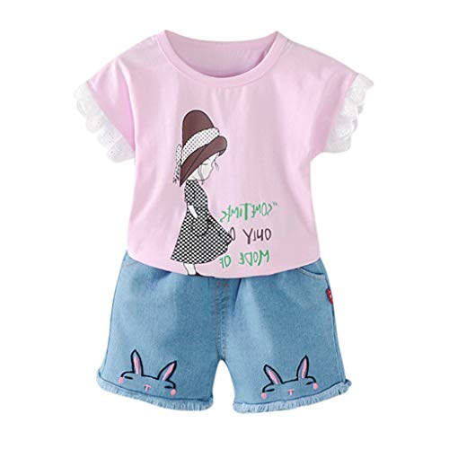 Allence 2pcs Babykleidung Set Kleinkind Kinder Baby Mädchen Brief Prinzessin Print Tops Shorts Jeans Outfits