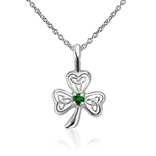 Plata de Ley 925Tiny irlandés celta tres trébol de la hoja con verde cristal colgante collar 18