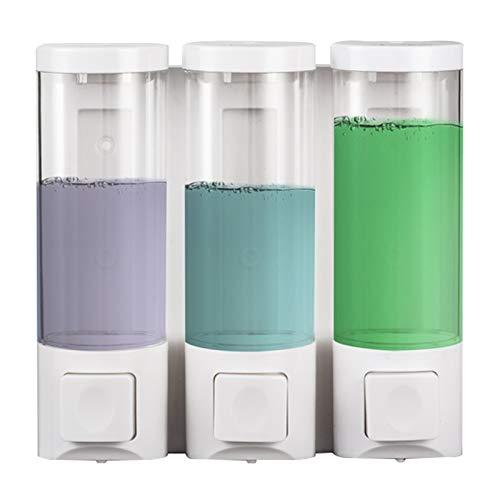YI0877CHANG Dispensador de Jabón Dispensador de jabón Manual Transparente Blanco, Botella de desinfección Manual Ajustable, 230ml / 460ml / 690ml sin perforación Dosificador jabón (A,B,C : C)