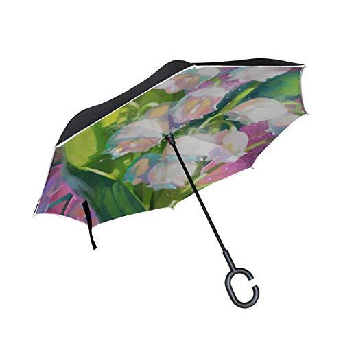 Maiglöckchen-Blumenstrauß-Kunst-umgekehrter Regenschirm-großer doppelter Schicht-Regen im Freien Sun-Auto-umschaltbarer Regenschirm