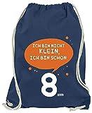 Hariz - Bolsa de deporte con texto en alemán 'Ich Bin Nicht Klein Ich Bin Schon Acht 8', incluye tarjeta de regalo, azul marino (Azul) - AchterGeburtstag18-WM110-7-1