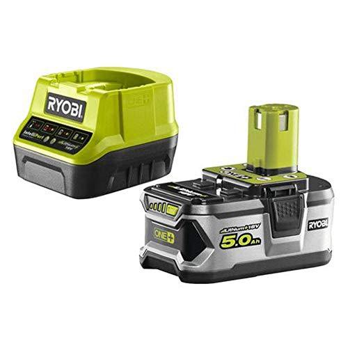 Ryobi Starterset Akku mit Schnelladegerät 18V, 5,0 Ah, ONE+, mit Überlastungsschutz und Ladezustandsanzeige, RC18120-150