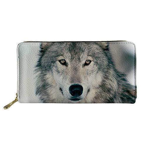 Showudesigns Long Clutch Wallet Bag Ladies Credit Cards Organizer Handbag Wolf Design