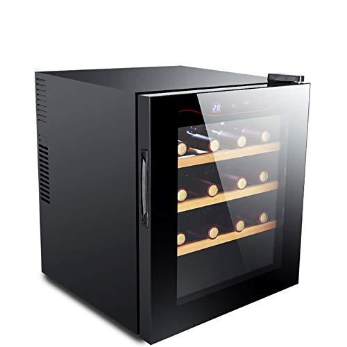 BLLXMX Getränkekühlschrank Weinkühlschrank, Herausnehmbare Einsätze, Touch Control LCD-Anzeige Temperaturanzeige Glasfront 16 Flaschen Schwarz