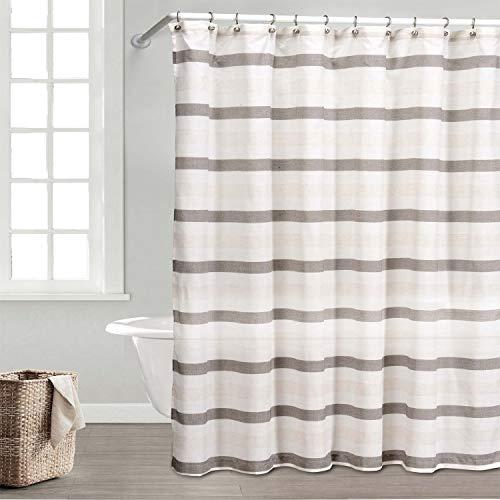 Elegant Linens Duschvorhang, gestreift, wasserdicht, wasserabweisend, horizontale Streifen, Braun & Beige, 178 x 183 cm