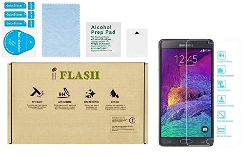 Samsung Galaxy NOTE 4 Screen Protector, iFlash Crystal Clear Tempered Glass Screen Protector For Samsung Galaxy NOTE 4 - HD Clear / 2.5D Rounded Edges / 9H Hardness/Scratch Proof/Bubble Free
