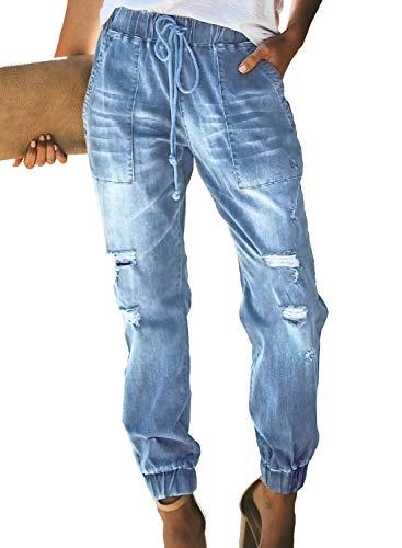 GOSOPIN Women Drawstring Elastic Waistband Loose Pants Jogger Denim Jeans XX-Large Sky Blue