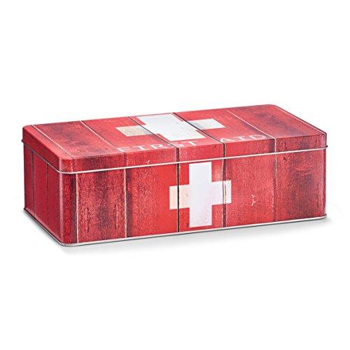 "Zeller 19233 Medizin-Box \""First Aid\"", Metall, rot, ca. 26,2 x 13,8 x 8,2 cm"