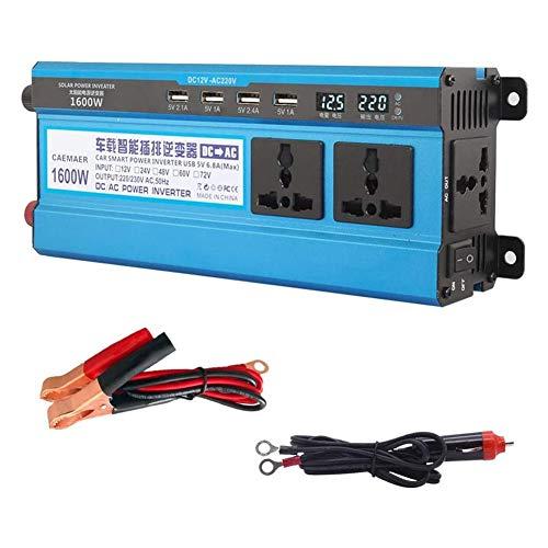 500W-3000W Coche Inversor De Energia, 12V / 24V / 48V / 60V DC A 220V AC Convertidor De Poder, Inversor De Onda Sinusoidal Modificada con Cambiar Y Doble LED Monitor, Coche Encendedor Adaptador