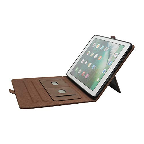 Jennyfly IPad Mini 4 Case 7.9 inch, Luxury PU Leather Smart Cover Case with Card Slots & Pencil Holder & Magnetic Wake/Sleep for Apple iPad Mini 1/2/3/4 - Brown