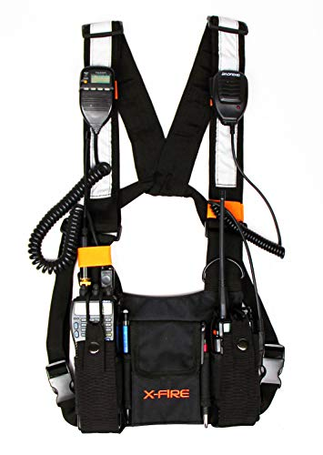 X-FIRE Dual Portable Radio 3m Reflective Chest Harness Vest Chaleco Front Pouch Holder Holster for Two Way Walkie Talkie GPS Firefighter EMS EMT SAR Search Rescue Tactical Refineries Construction