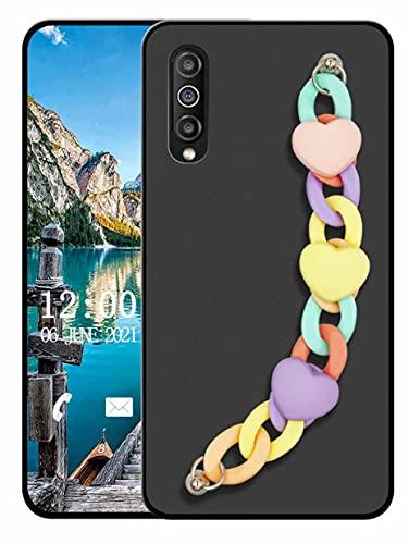 Sunrive Funda Compatible con Huawei P Smart S, Colgante movil con Cuerda Lindo Silicona Mate Slim Fit Gel Carcasa Case Bumper Espalda Cover Pulsera(L corazón 1)