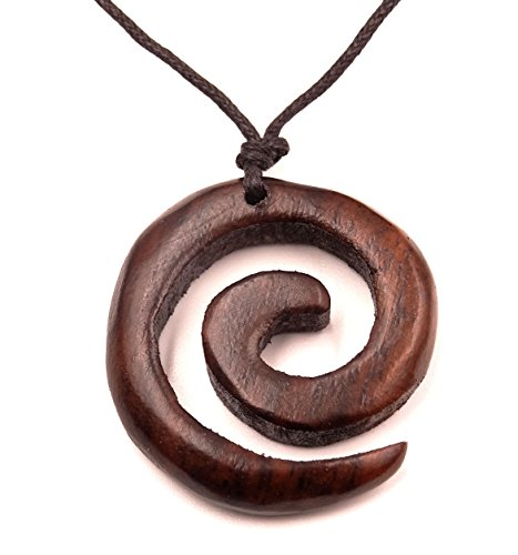 Collar con colgante étnico de madera, diseño en tribal en espiral (ajustable)