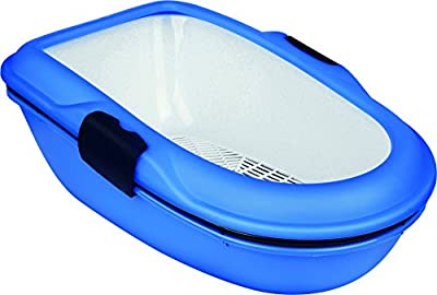 Trixie Berto Cat Litter Tray with Separating System, 39 x 22 x 59 cm, Blue/Dark Blue/Granite by Trixie