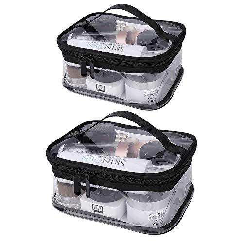 Estuche Transparente de Maquillaje PVC, 2 Pcs Impermeable Bolsa de Aseo Portátil Cosmético Organizador con Cremallera y Asa para Hombre Mujer Vacación Baño y Viajes